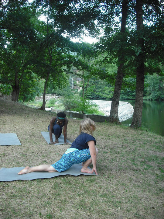 Yoga by the nearby river
