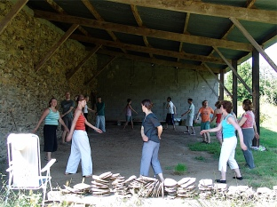 Qigong in the open barn
